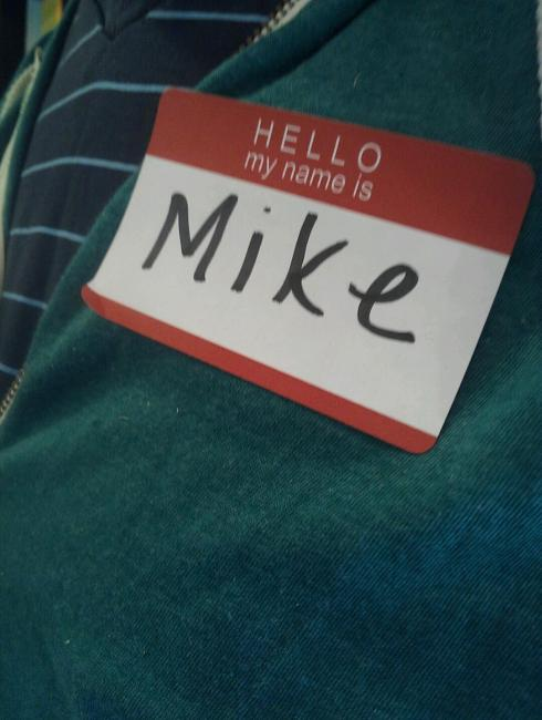 Mike's a champ at attending appointments/classes with me.  We have quite the nametag collection going.
