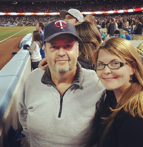 Dad and I at a Dodgers game in 2012.