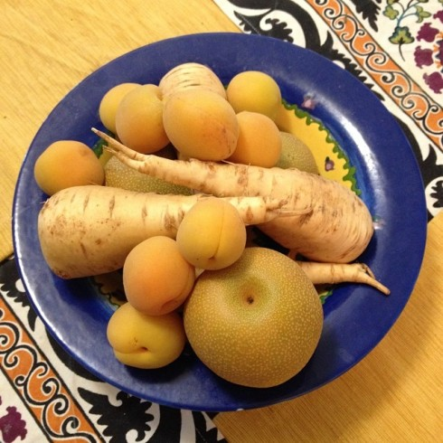 I made Margot parsnips, apricots, and pears from the farmer's market.