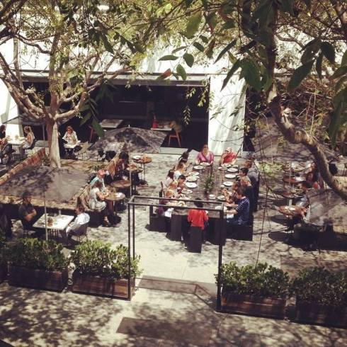 The courtyard and cafe.