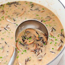Wild rice and mushroom soup photo and recipe via America's Test Kitchen.