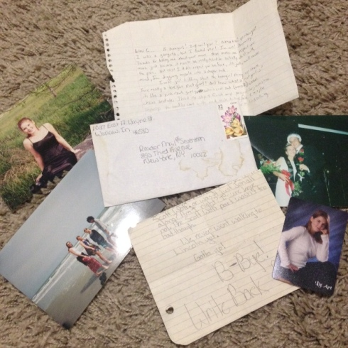 Letter I wrote to Seventeen Magazine and never sent (haha!), letters from friends, senior picture where I look like Aunt Becky from Full House, and two prom pics. Yep, I was the prom queen.
